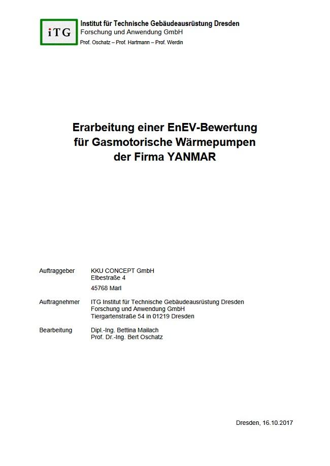 Vorschau Titelblatt des Praxis-Leitfadens zur EnEV -Bewertung von Gasmotorwärmepumpen